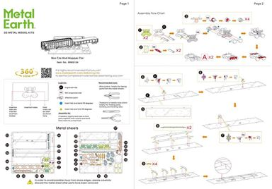 metal earth vehicles -Freight Train Set instructions 1