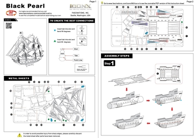 metal earth ships - iconx black pearl instructions 2