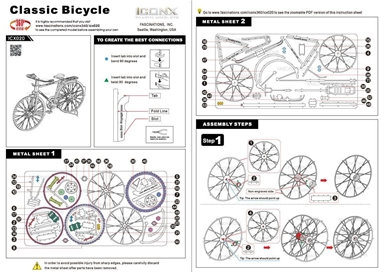 metal earth vehicles - iconx classic bicycle instructions 1