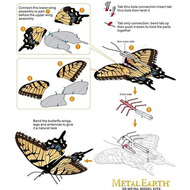 metal earth butterflies - tiger swallowtail instruction