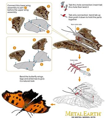 metal earth  butterflies - eastern comma instruction