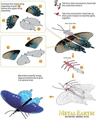 metal earth butterflies - pipevine swallowtail instructions