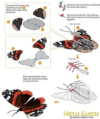Metal Earth bugs - Red Admiral  instruction