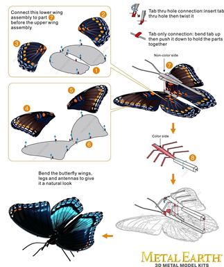 Metal Earth bugs - Red Spotted Purple instruction