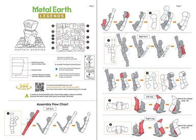 metal earth legends - captain america instruction