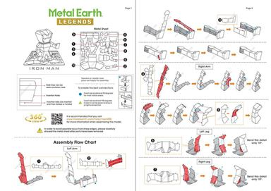 metal earth legends - iron man instructions 1