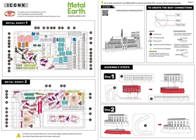 metal earth  Iconx notre dame instruction