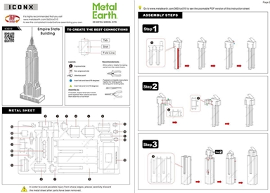 metal earth architecture - iconx empire state building instructions 1