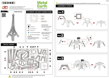 metal earth architecture - iconx eiffel tower instructions 1