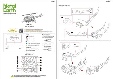 metal earth aviation - huey helicopter instructions 1