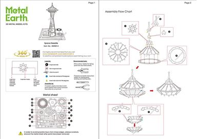 metal earth architecture - space needle instructions 1