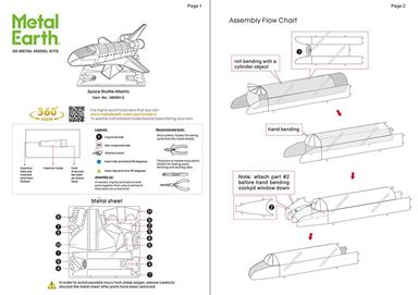 metal earth aviation- space shuttle atlantis instructions 1