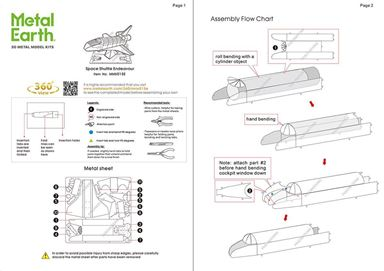 metal earth aviation - space shuttle endeavor instructions 1