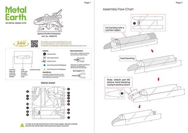 metal earth aviation - nasa shuttle enterprise instructions 1
