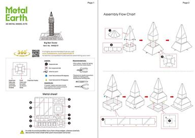 metal earth architecture big ben tower  instructions  1