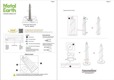 metal earth architecture - washington monument instruction