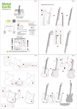 metal earth musical electric lead guitar metal earth diy 3d metal model kits. Black Bedroom Furniture Sets. Home Design Ideas