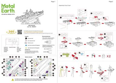 metal earth ships - uss arizona instructions 1