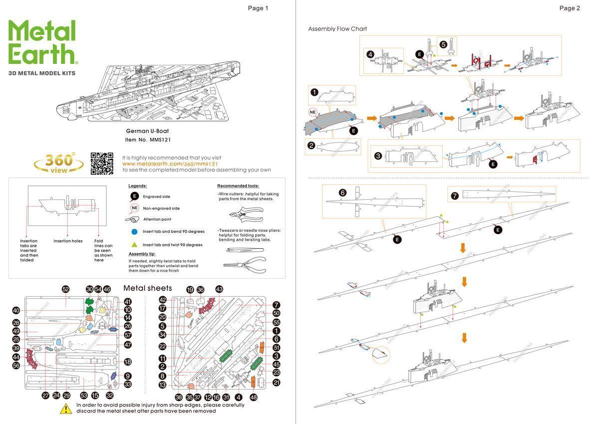 German Xxi U Boat Diagram Layout Wiring Diagrams Ford 6610 Fuse Box Metal Earth Diy 3d Model Kits Ships Germa Rh Metalearth Com