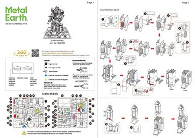 metal earth transformer - optimus prime instructions 1