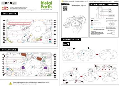 metal earth ICONX - millennium falcon instructions 1