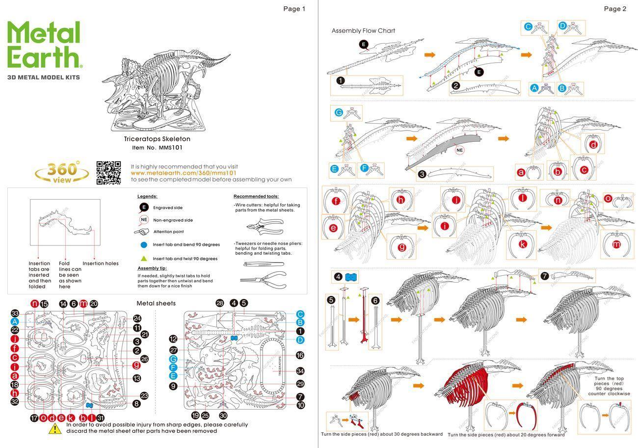Metal Earth Diy 3d Metal Model Kits Metal Earth Triceraptops Skeleton