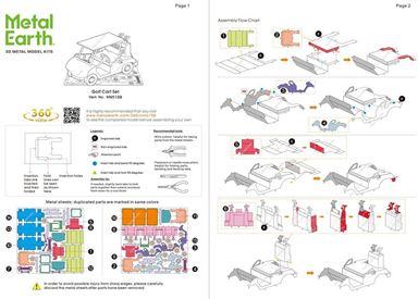 Metal Earth vehicles - Golf cart set instruction