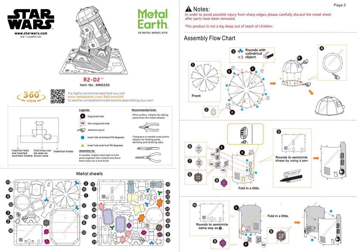 Metal Earth Star Wars R2d2 Metal Earth Diy 3d Metal Model Kits