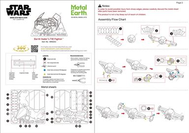 metal earth star wars - dv tie fighter  instruction
