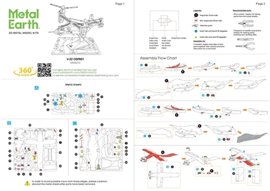 Instruction sheets of V-22 Osprey